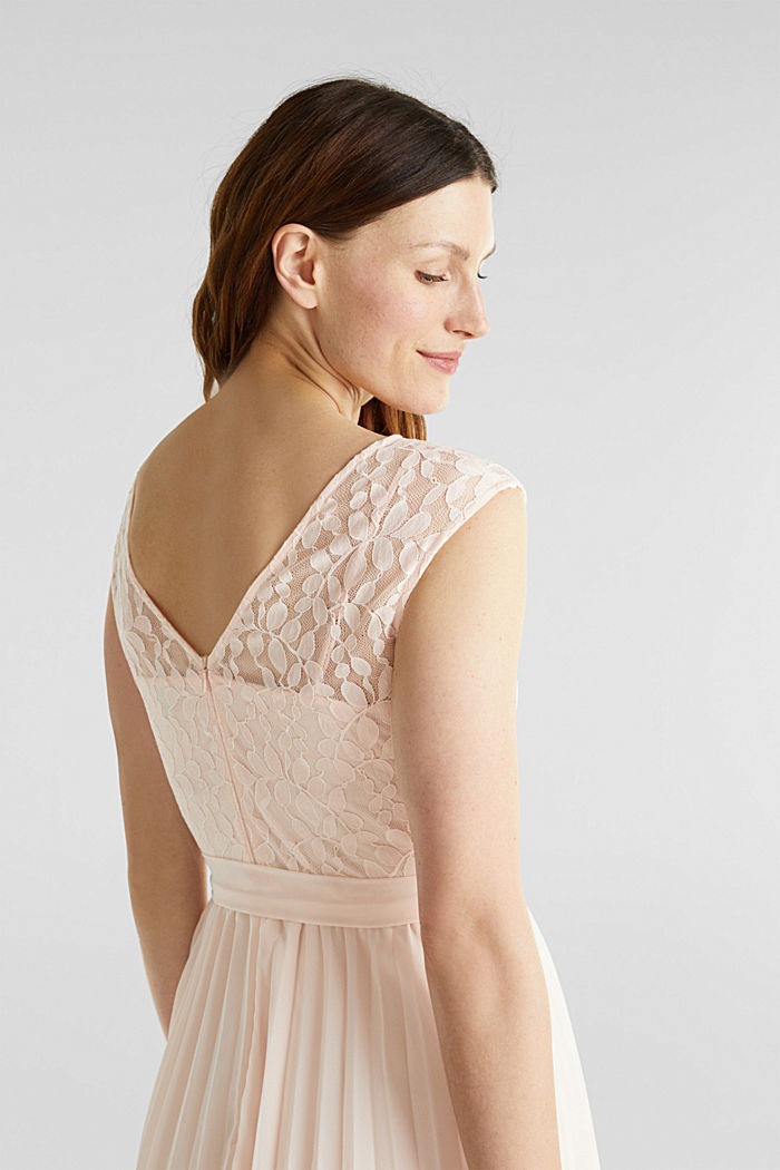 Recycled: pleated dress with lace, PASTEL PINK, detail image number 5