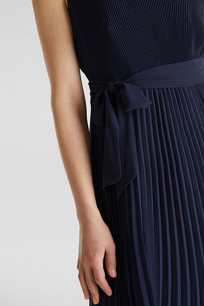 Gerecycled: midi-jurk met plooien, NAVY, detail image number 2