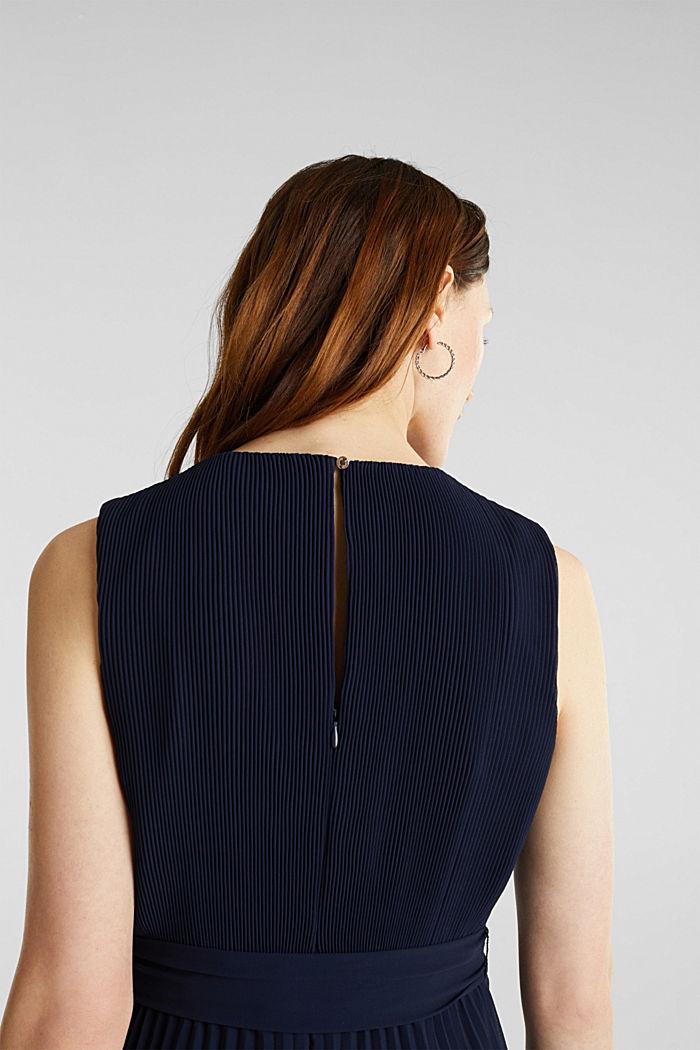 Gerecycled: midi-jurk met plooien, NAVY, detail image number 3