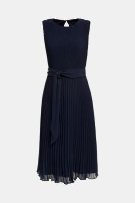 Recycled: midi dress with plissé pleats, NAVY, detail