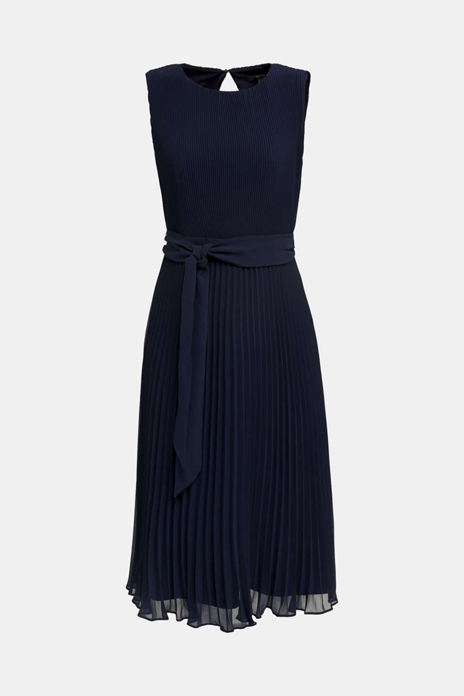 Recycled: midi dress with plissé pleats, NAVY, detail image number 4