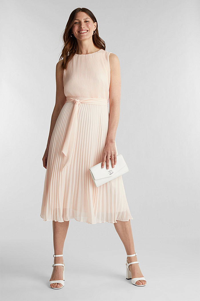 Recycled: midi dress with plissé pleats, PASTEL PINK, detail image number 1
