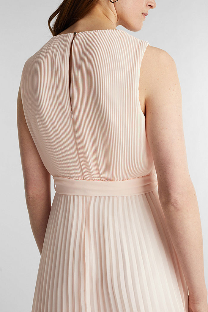 Recycled: midi dress with plissé pleats, PASTEL PINK, detail image number 3