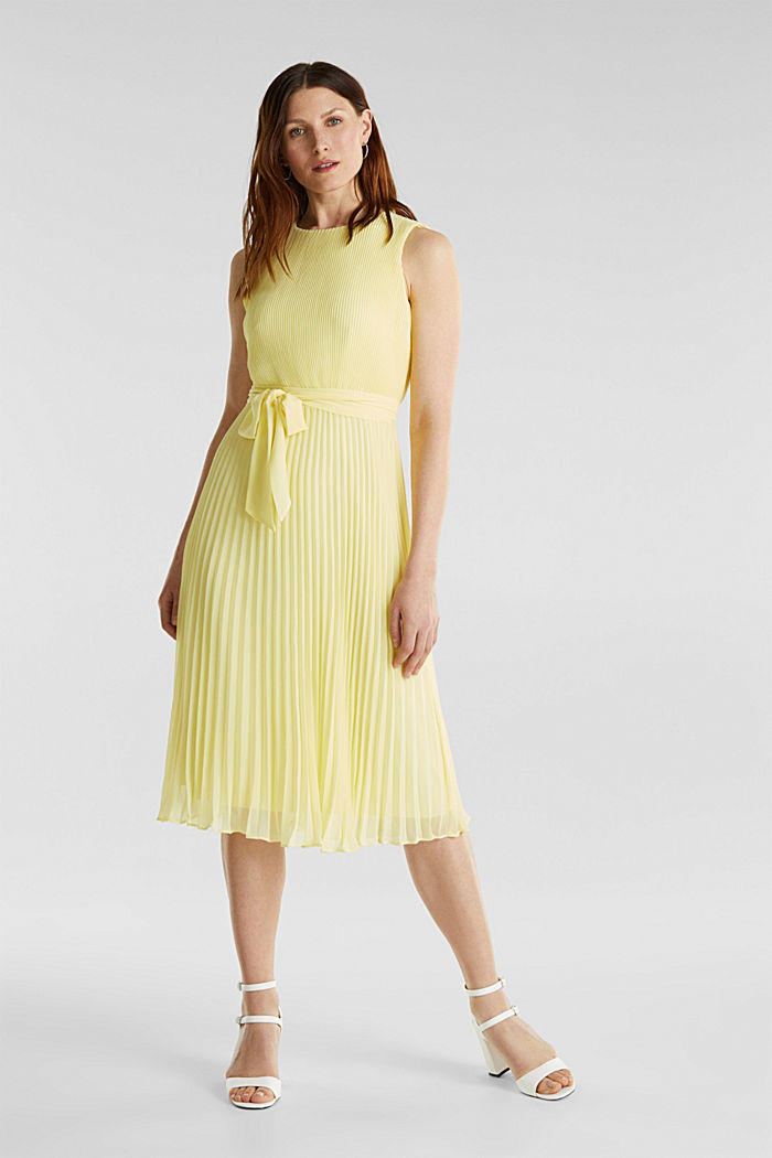 Recycled: midi dress with plissé pleats, LIME YELLOW, overview