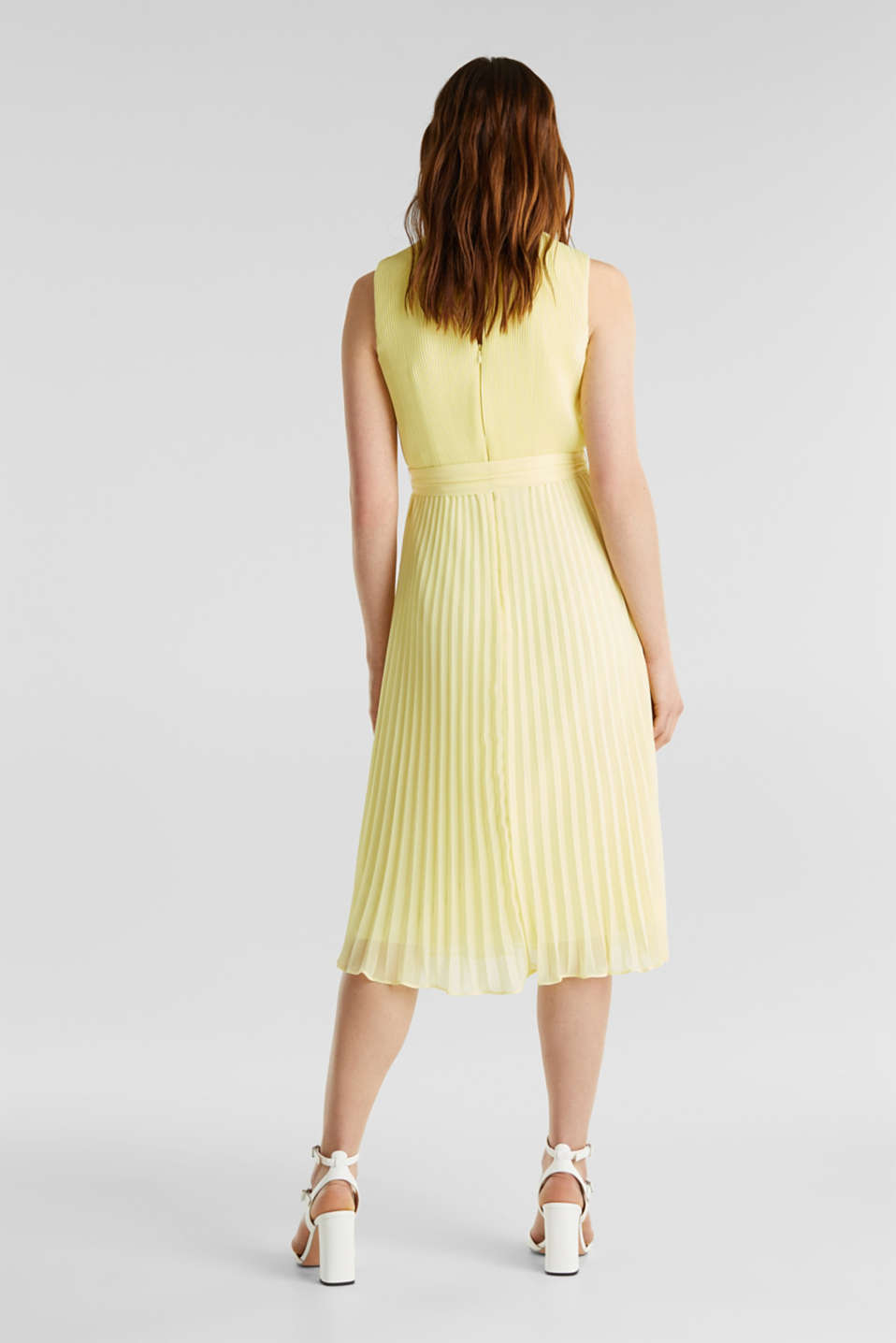 Recycled: midi dress with plissé pleats, LIME YELLOW, detail image number 1