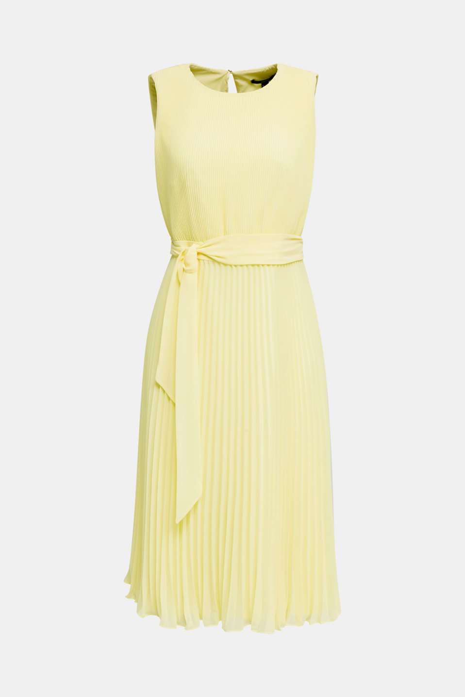 Recycled: midi dress with plissé pleats, LIME YELLOW, detail image number 5