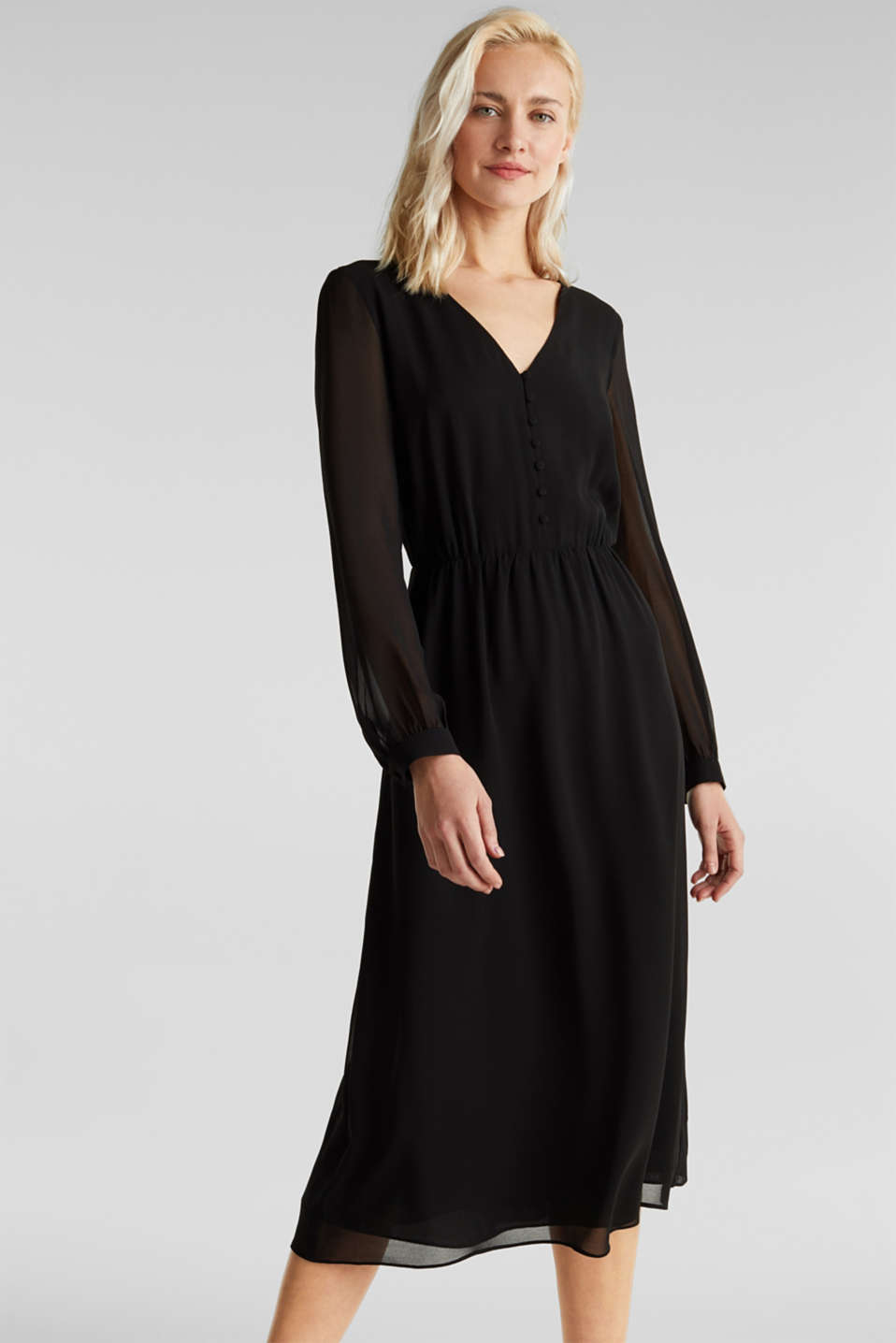 Recycled: chiffon dress with button placket, BLACK, detail image number 0
