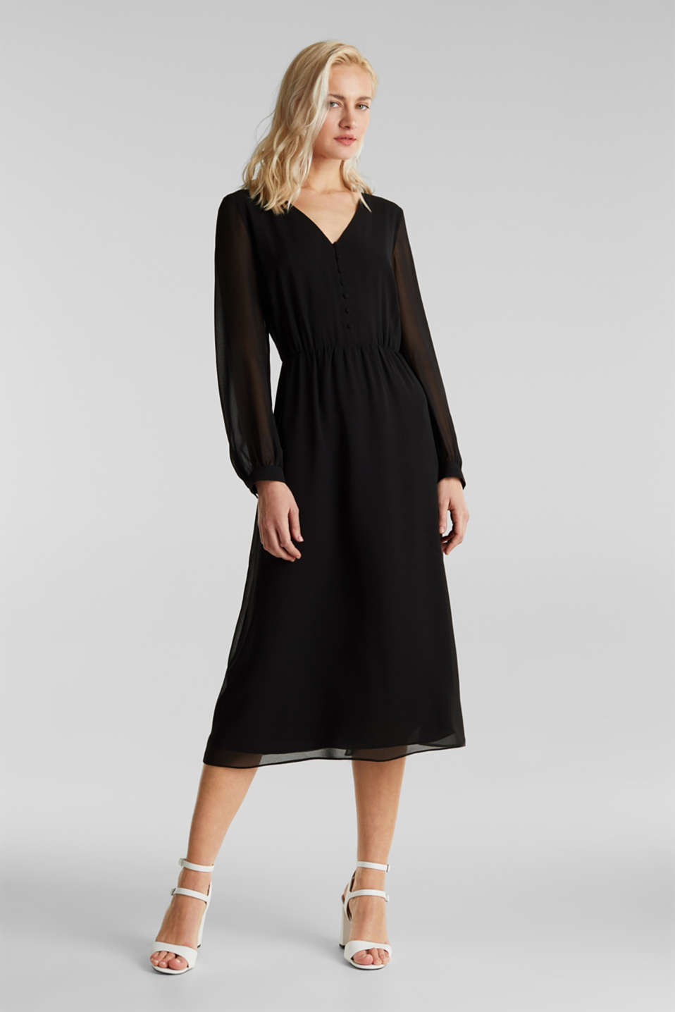 Recycled: chiffon dress with button placket, BLACK, detail image number 5