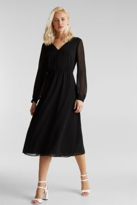 Recycled: chiffon dress with button placket, BLACK, detail