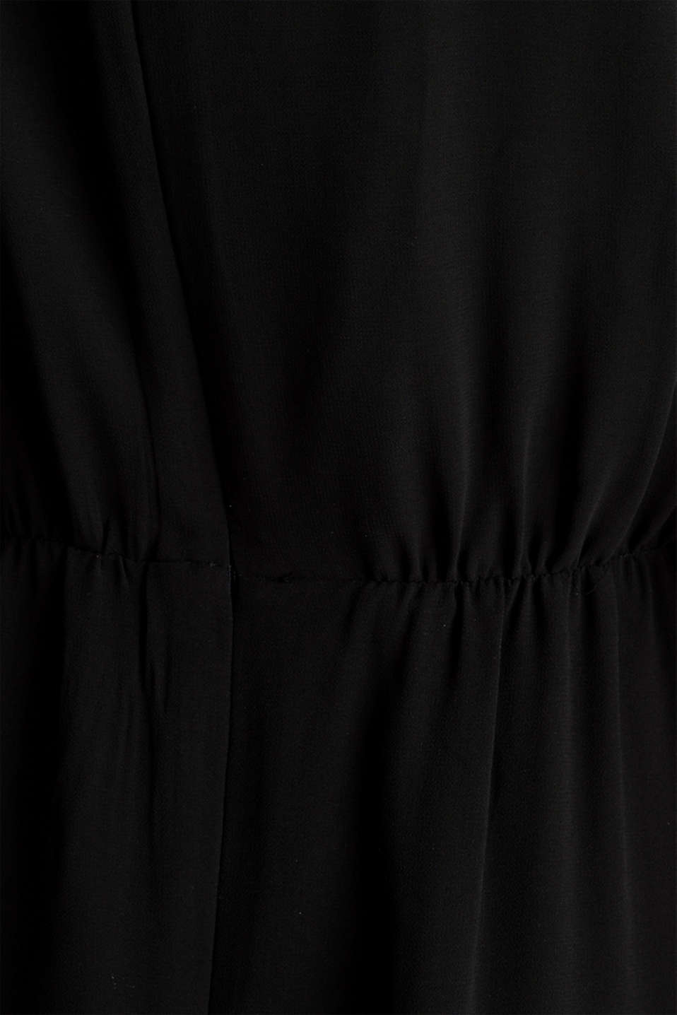 Recycled: chiffon dress with button placket, BLACK, detail image number 4