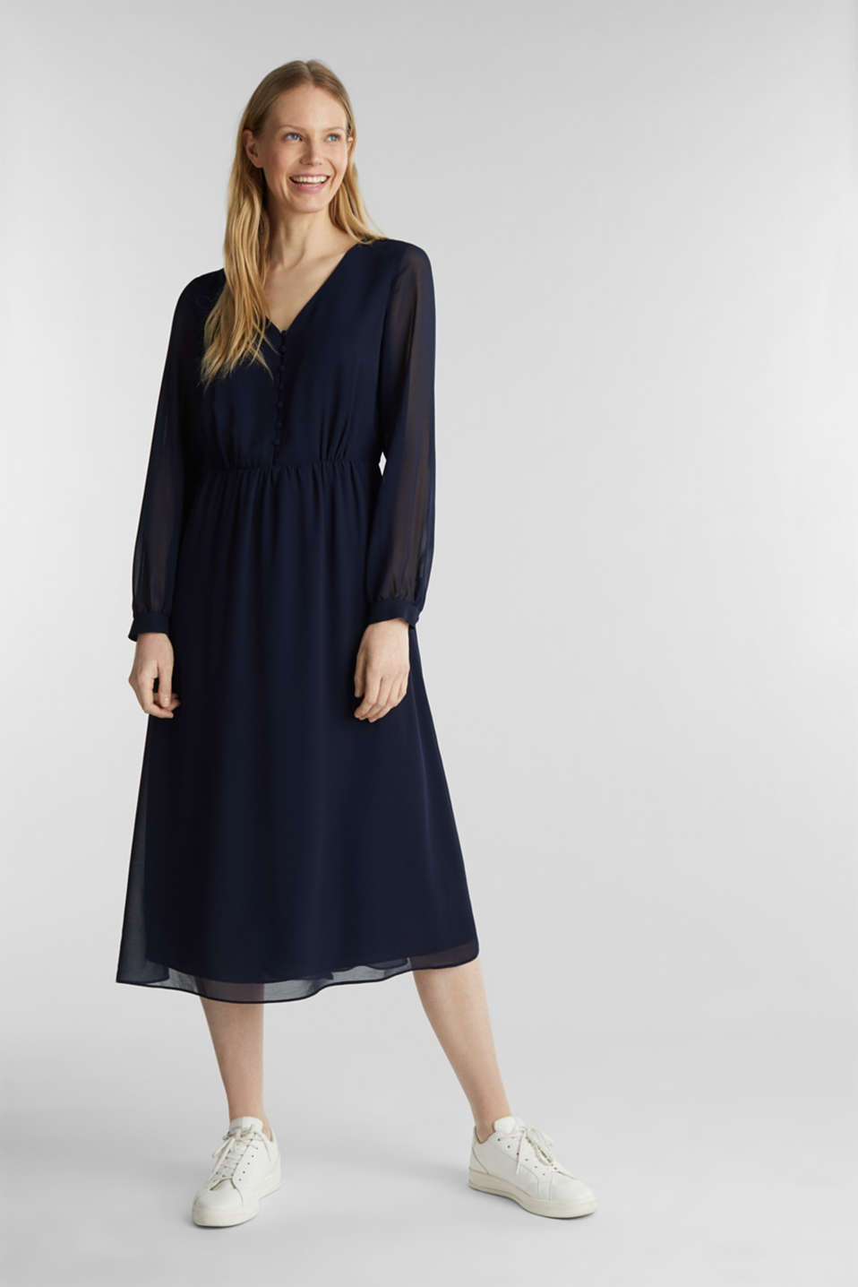 Recycled: chiffon dress with button placket, NAVY, detail image number 0