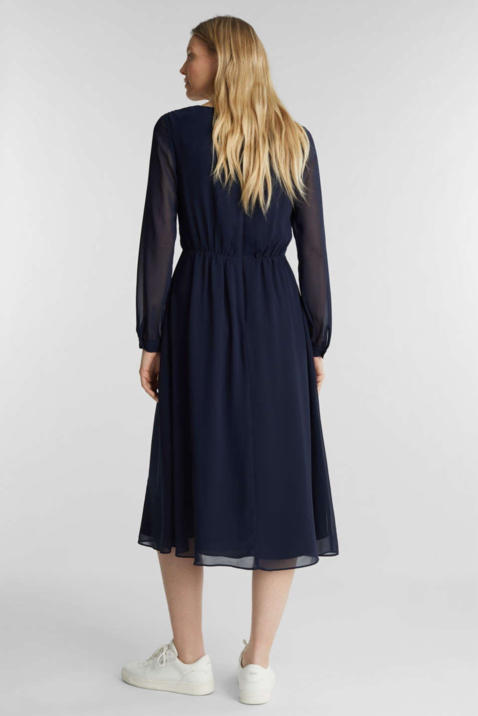 Recycled: chiffon dress with button placket, NAVY, detail image number 2