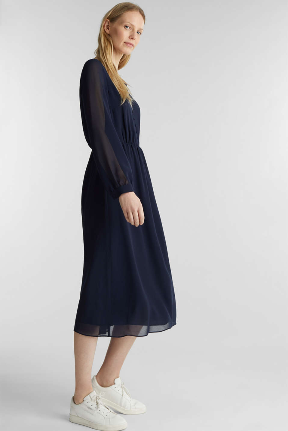 Recycled: chiffon dress with button placket, NAVY, detail image number 1