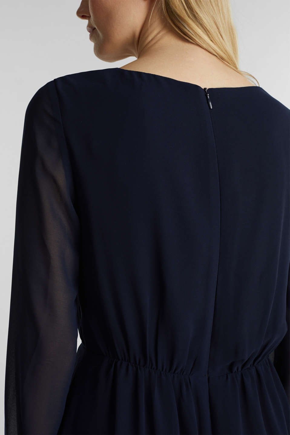 Recycled: chiffon dress with button placket, NAVY, detail image number 3