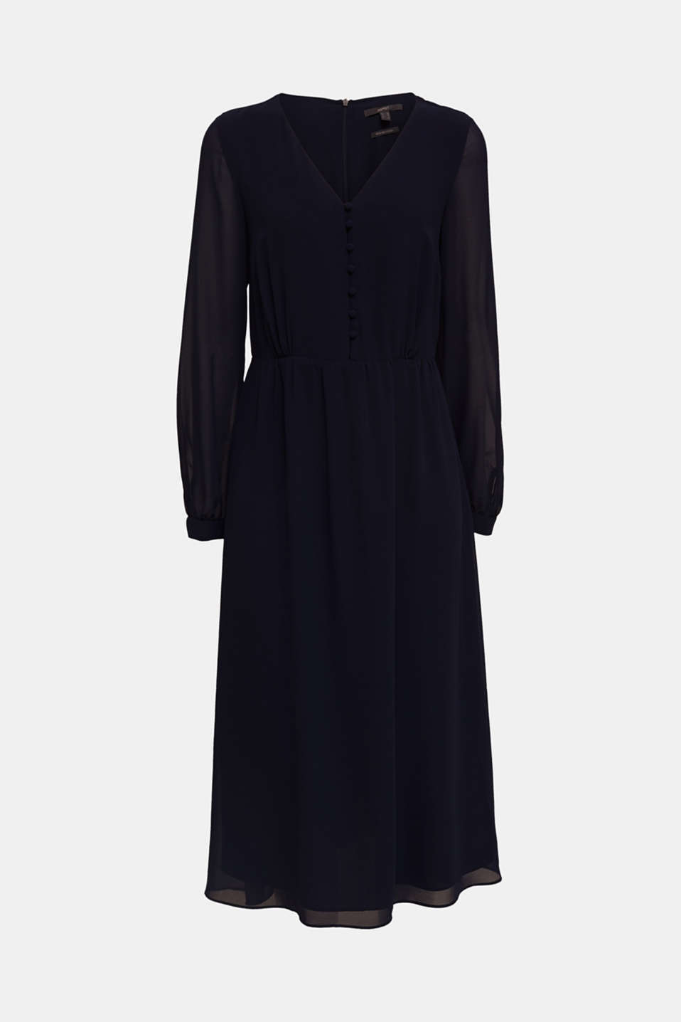 Recycled: chiffon dress with button placket, NAVY, detail image number 5