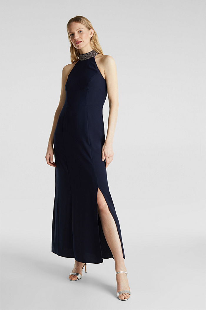 Maxi dress with a sequinned stand-up collar, NAVY, detail image number 0