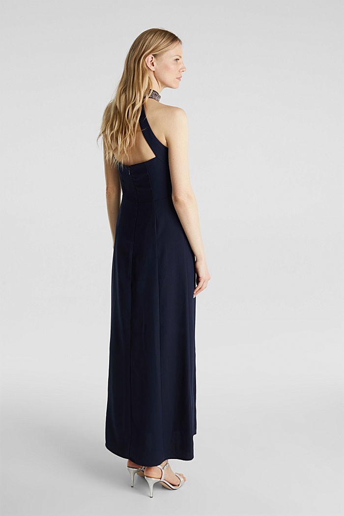 Maxi dress with a sequinned stand-up collar, NAVY, detail image number 2