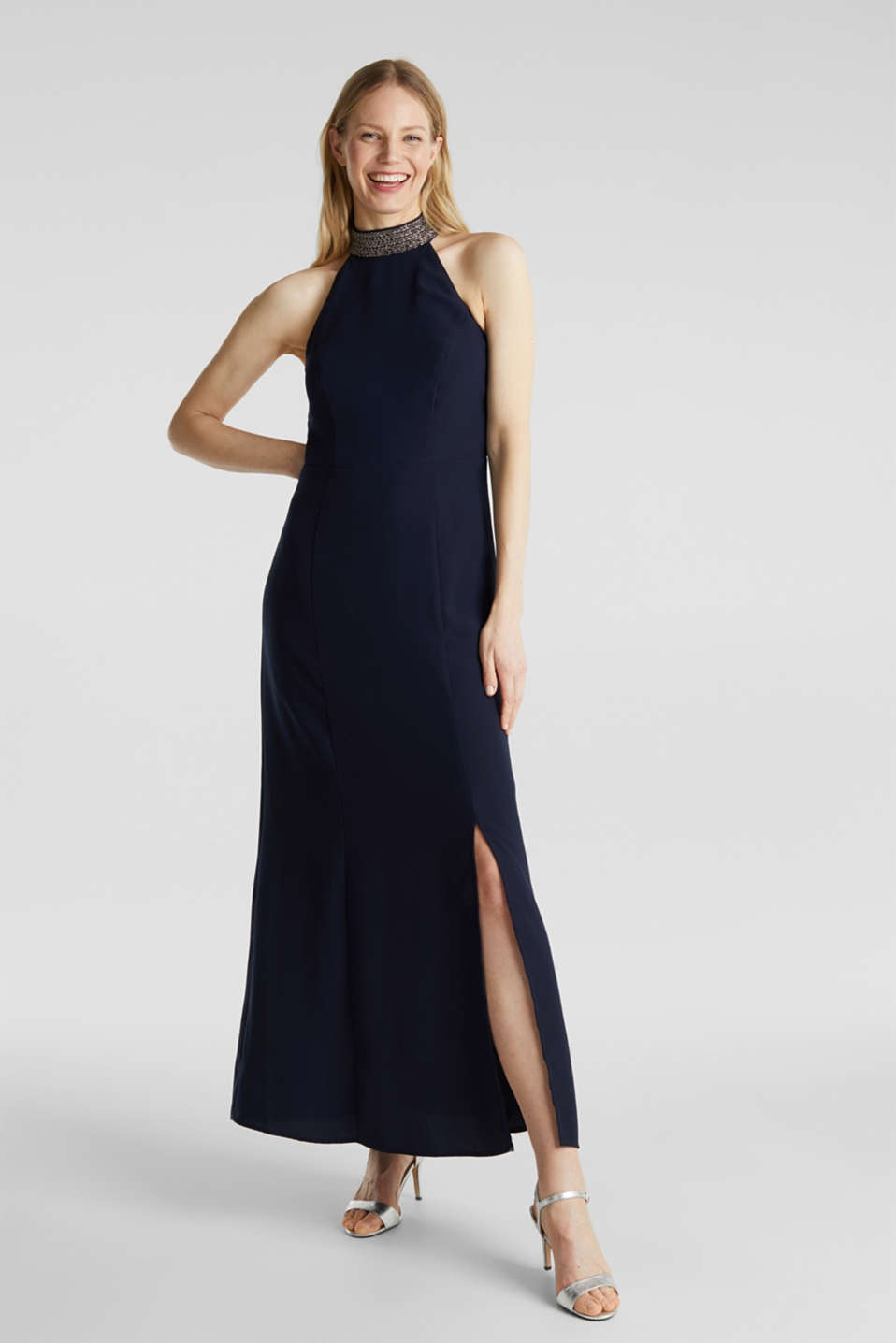 Maxi dress with a sequinned stand-up collar, NAVY, detail image number 1