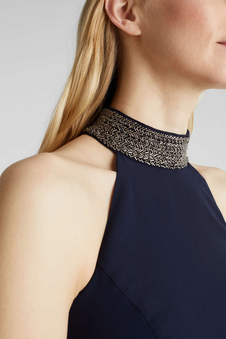Maxi dress with a sequinned stand-up collar, NAVY, detail image number 3