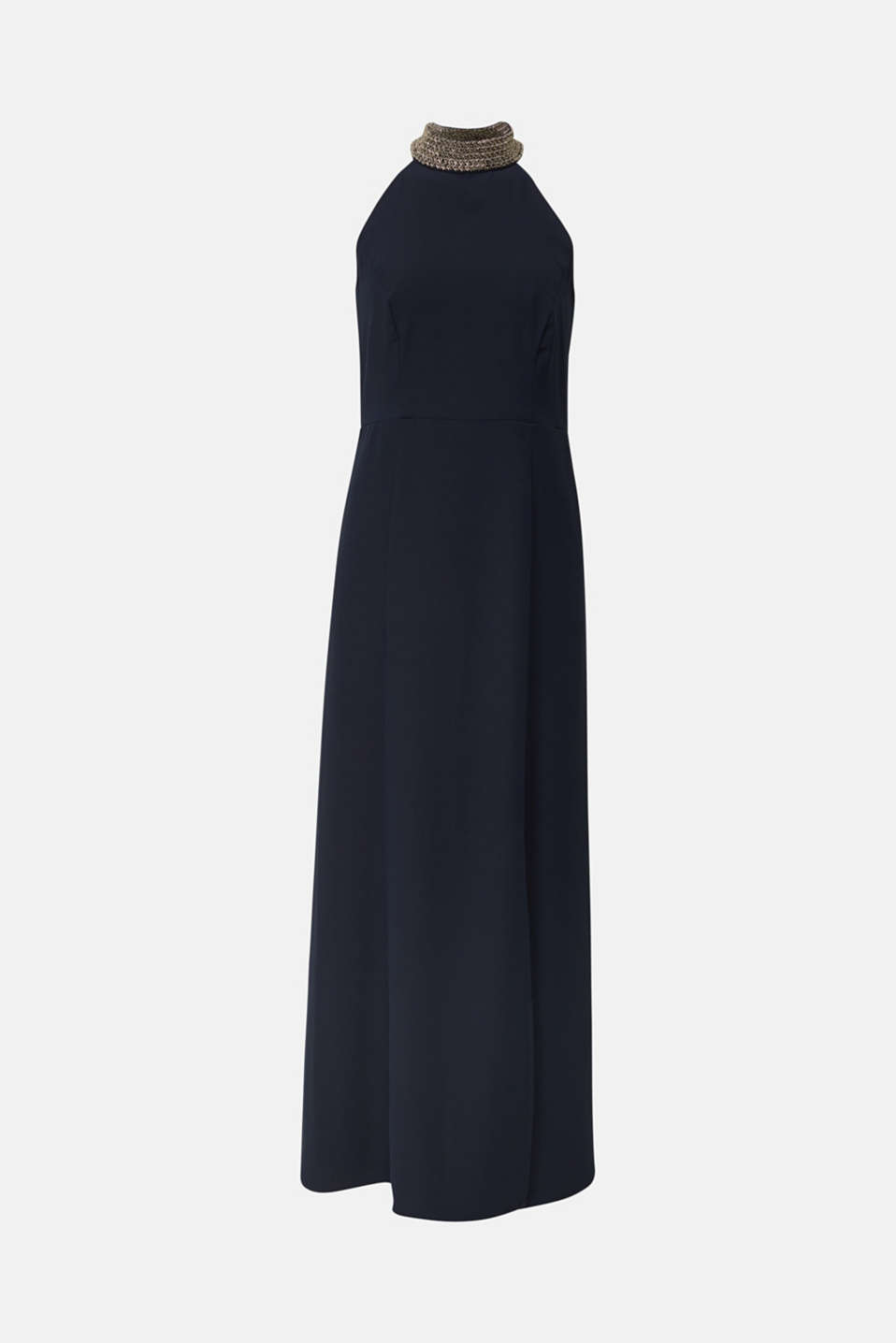 Maxi dress with a sequinned stand-up collar, NAVY, detail image number 7