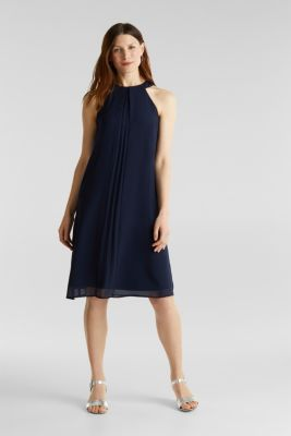 Recycled: crêpe dress with a belt, NAVY, detail