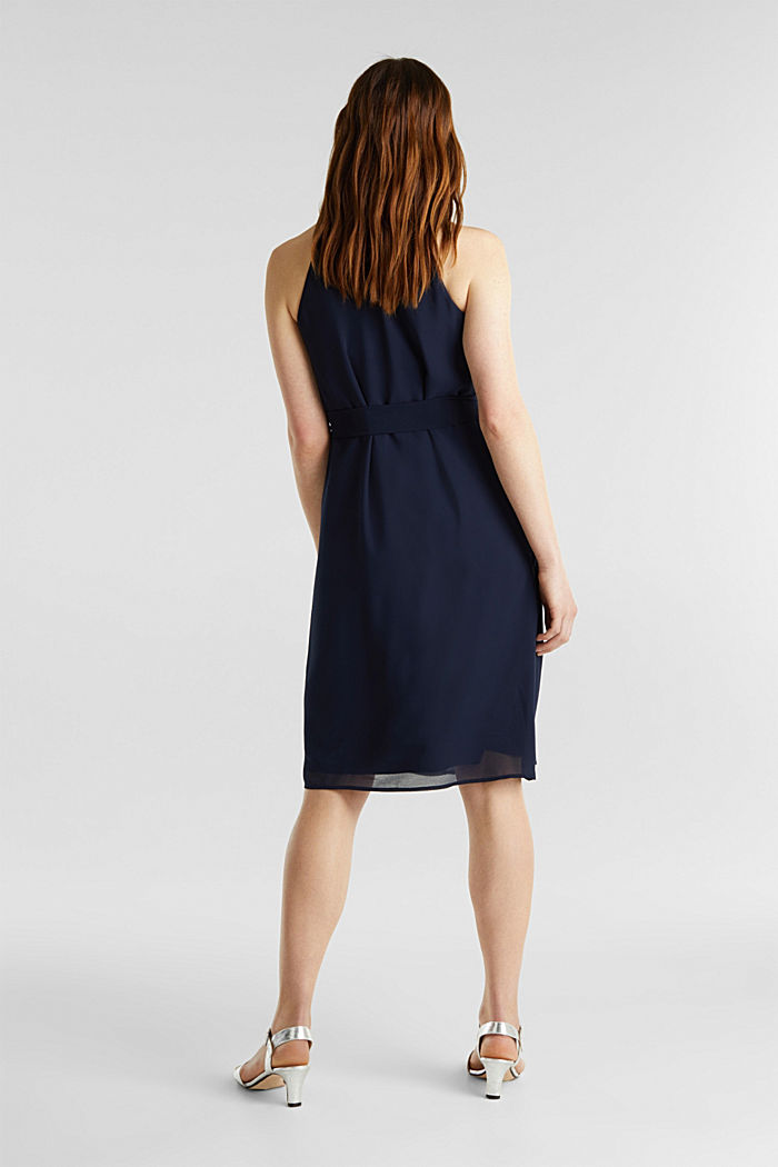 Recycled: crêpe dress with a belt, NAVY, detail image number 1