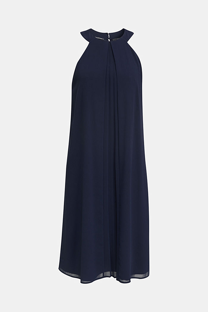 Recycled: crêpe dress with a belt, NAVY, detail image number 4