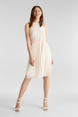 Recycled: crêpe dress with a belt, PASTEL PINK, detail