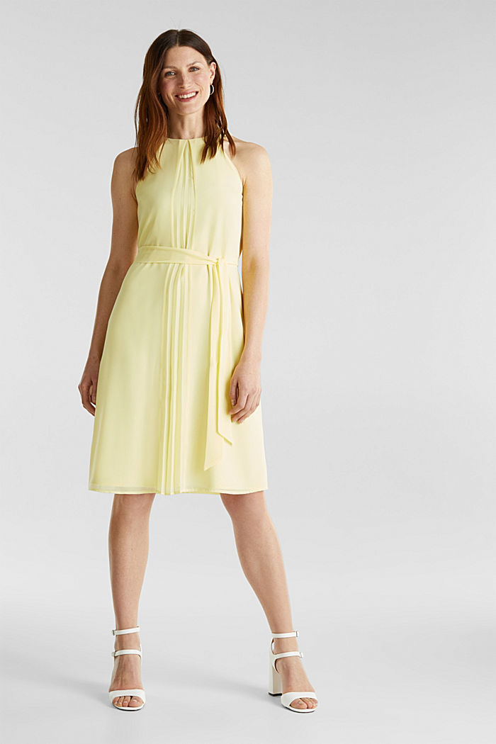 Recycled: crêpe dress with a belt, LIME YELLOW, detail image number 0