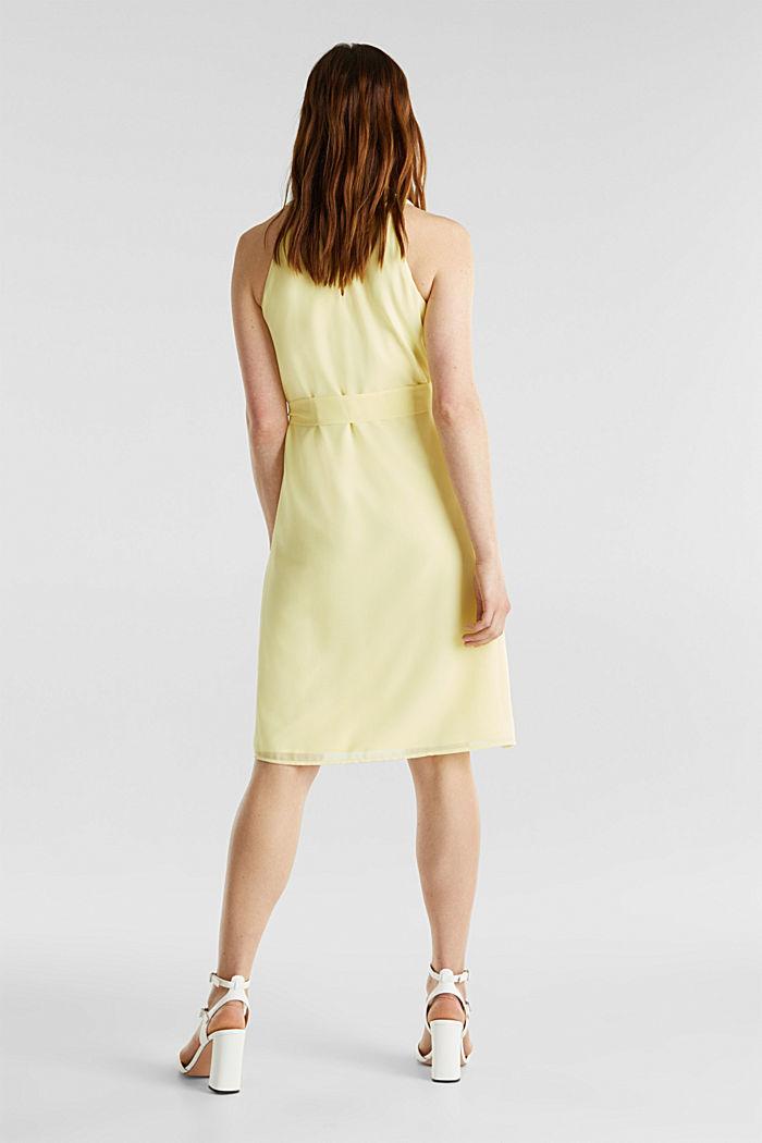 Z recyklingu: Krepowa sukienka z paskiem, LIME YELLOW, detail image number 1