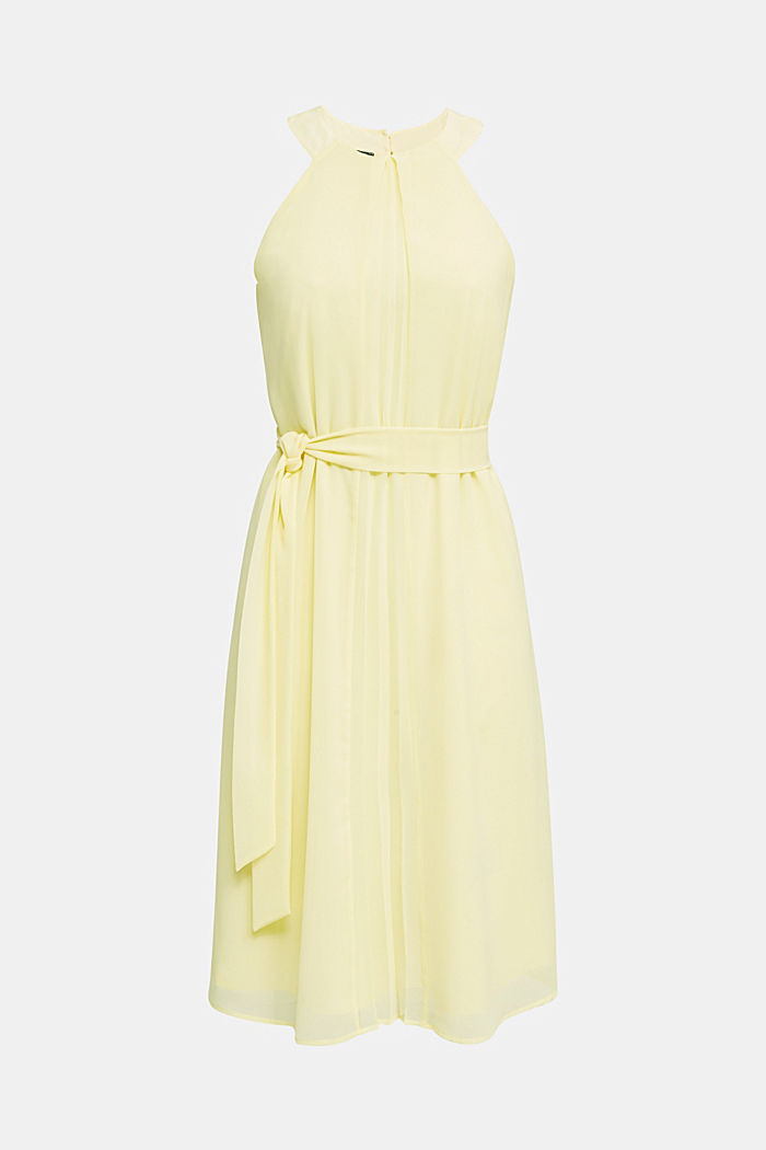 Recycled: crêpe dress with a belt, LIME YELLOW, detail image number 4