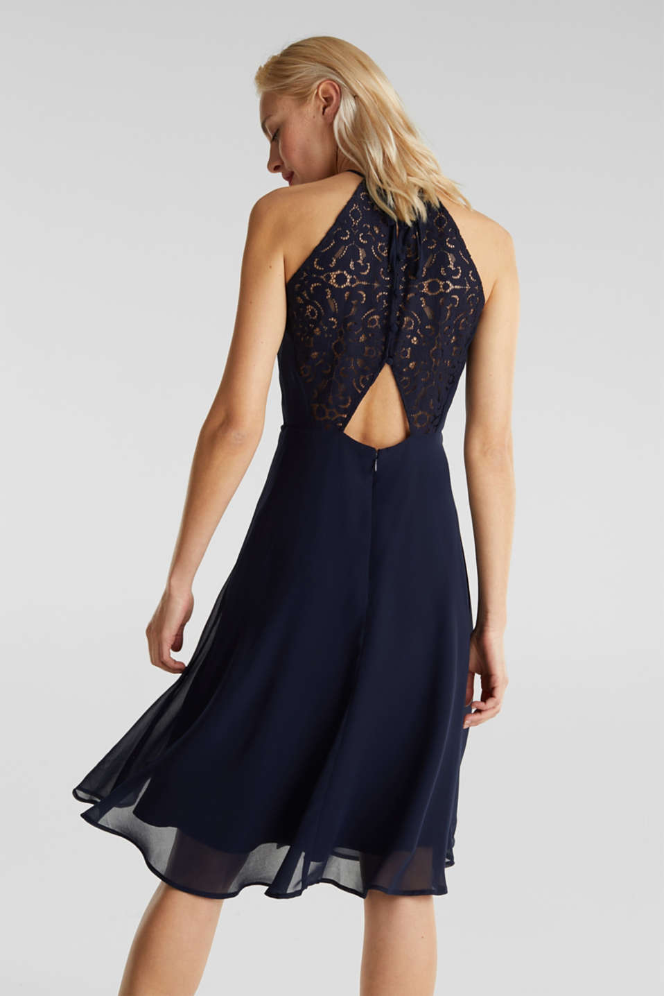 Recycled: dress with lace back, NAVY, detail image number 2