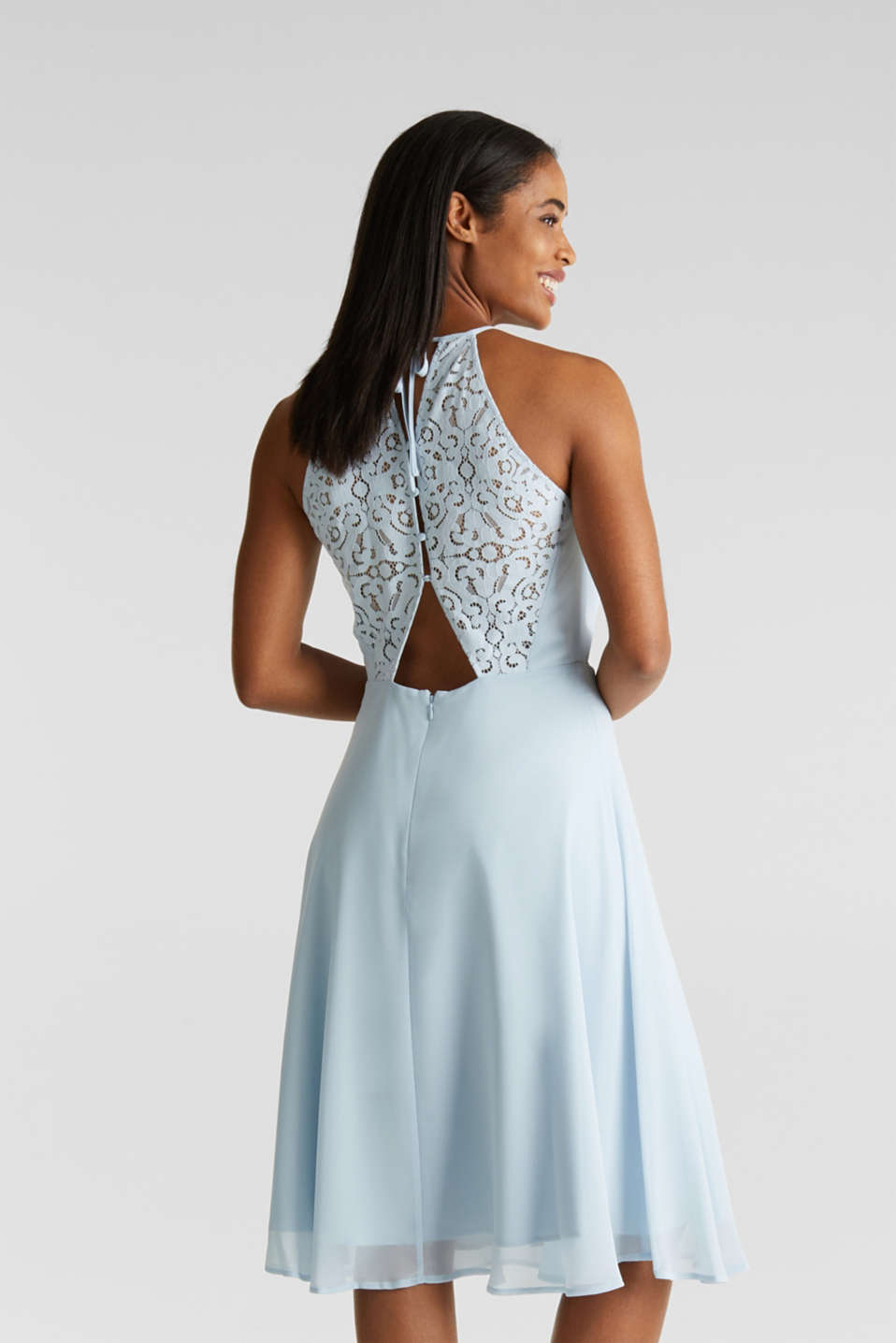 Recycled: dress with lace back, PASTEL BLUE, detail image number 2