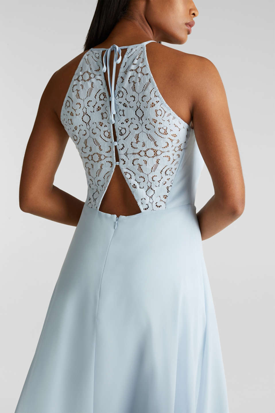 Recycled: dress with lace back, PASTEL BLUE, detail image number 3