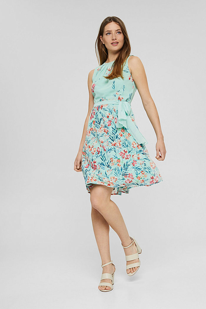 Chiffon dress with floral print, PASTEL GREEN, detail image number 1