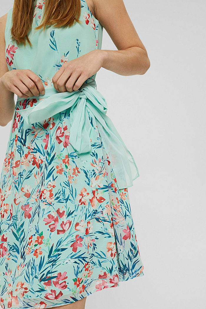 Chiffon dress with floral print, PASTEL GREEN, detail image number 3