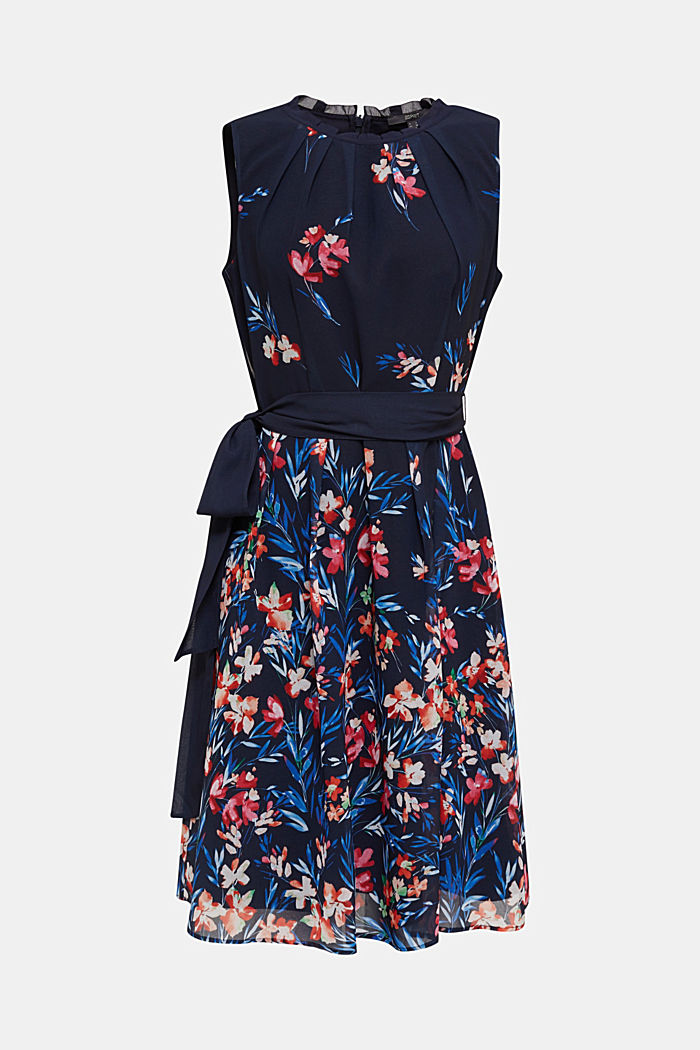 Chiffon dress with floral print, NAVY, detail image number 0