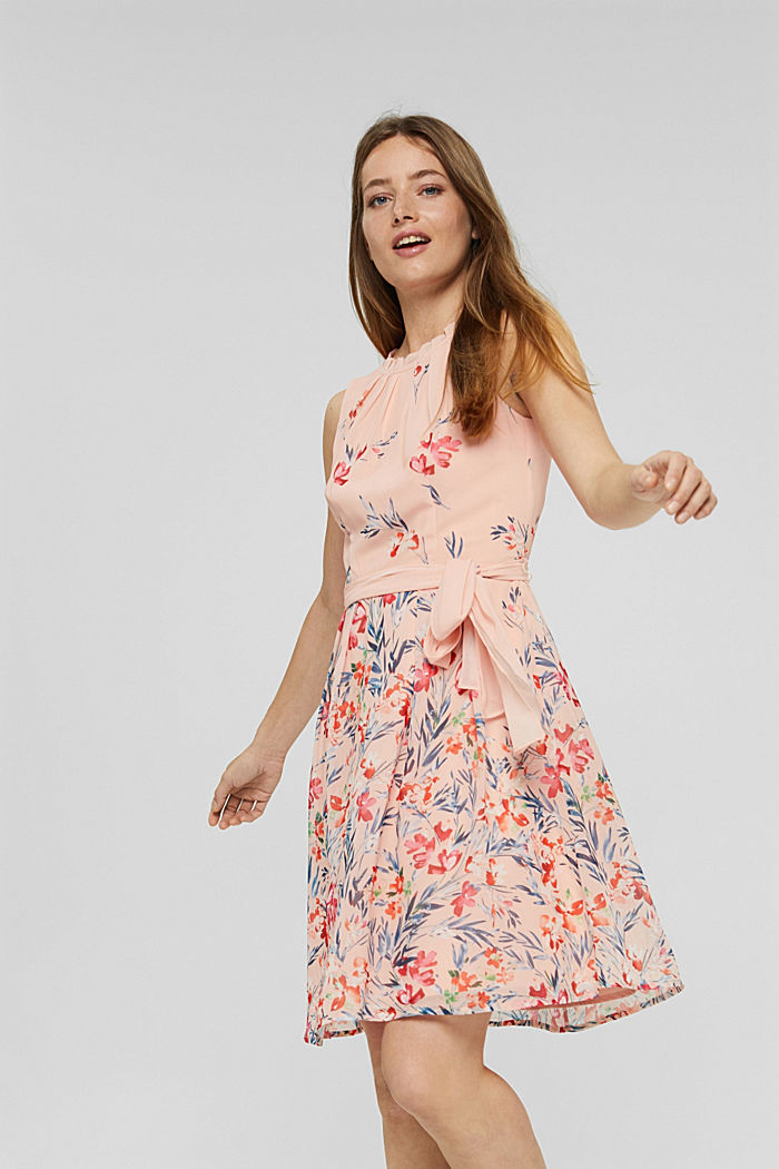 Chiffon-Kleid mit Blumen-Print, PASTEL PINK, detail image number 0
