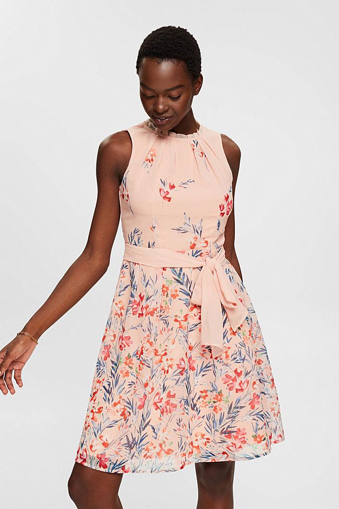 Chiffon-Kleid mit Blumen-Print, PASTEL PINK, detail image number 5