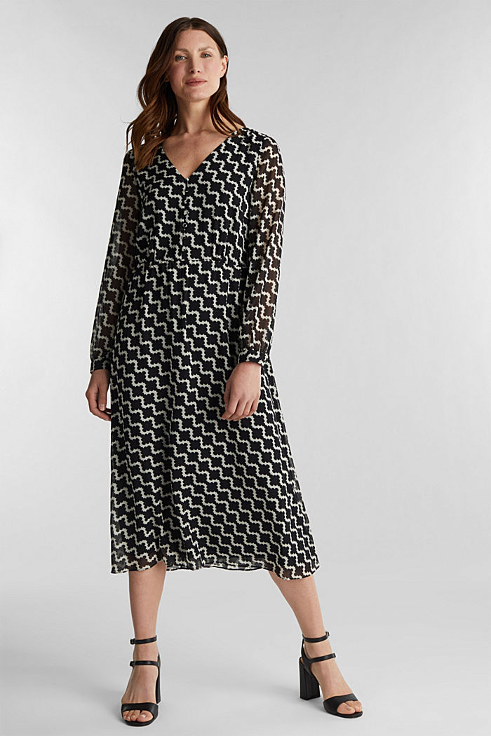 Chiffon dress with a geometric print