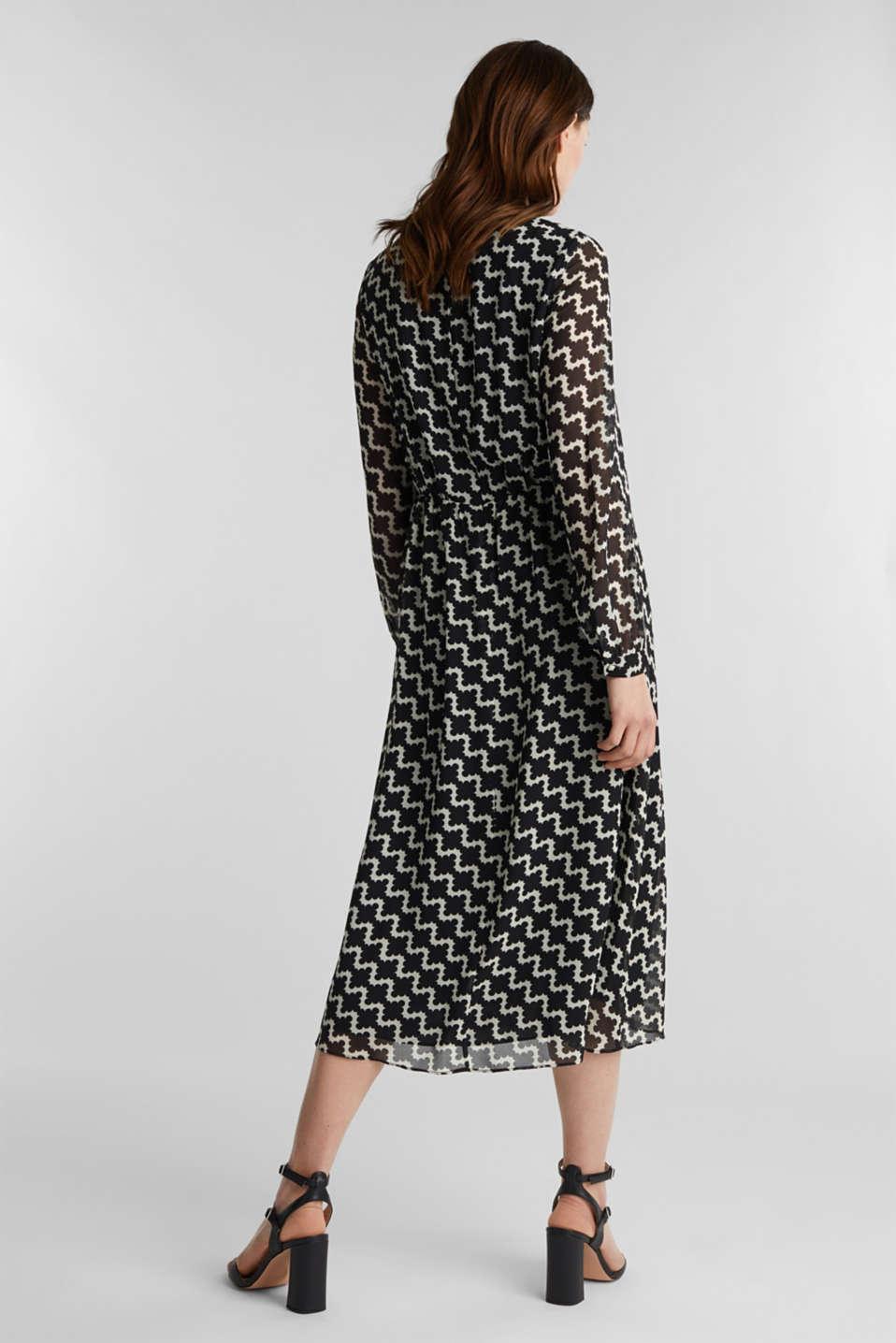 Chiffon dress with a geometric print, BLACK 3, detail image number 2