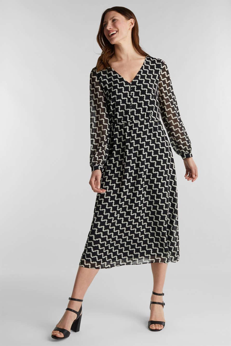 Chiffon dress with a geometric print, BLACK 3, detail image number 1