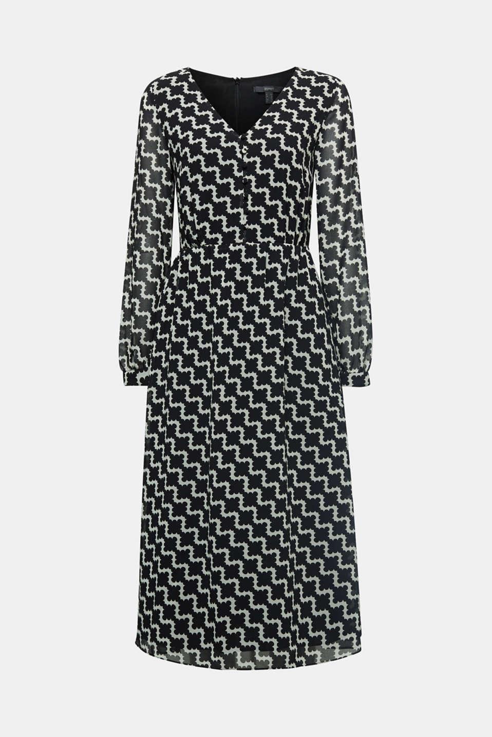 Chiffon dress with a geometric print, BLACK 3, detail image number 5