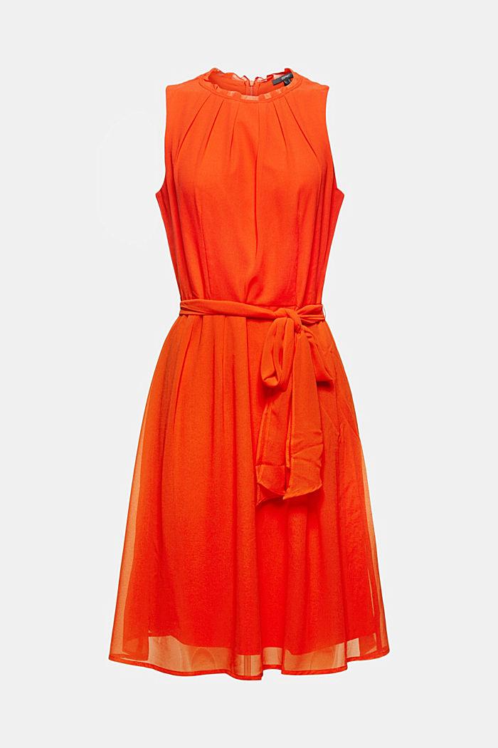 Tailliertes Crêpe-Kleid in A-Linie mit Gürtel