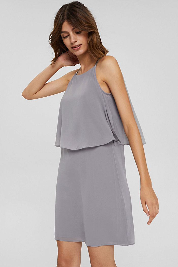 Gerecycled: chiffon jurk met laagjeslook, GREY, detail image number 0