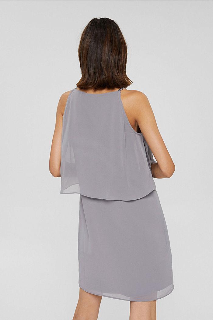 Gerecycled: chiffon jurk met laagjeslook, GREY, detail image number 2