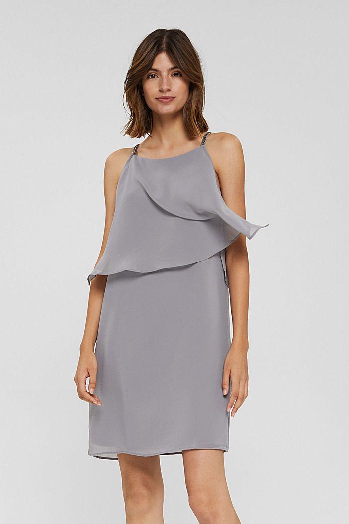 Gerecycled: chiffon jurk met laagjeslook, GREY, detail image number 5
