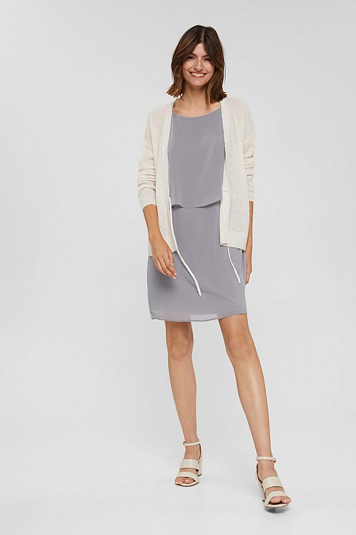 Gerecycled: chiffon jurk met laagjeslook, GREY, detail image number 1