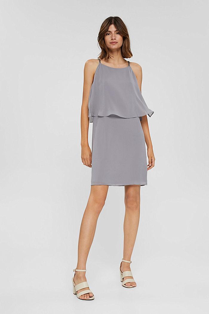 Gerecycled: chiffon jurk met laagjeslook, GREY, detail image number 7