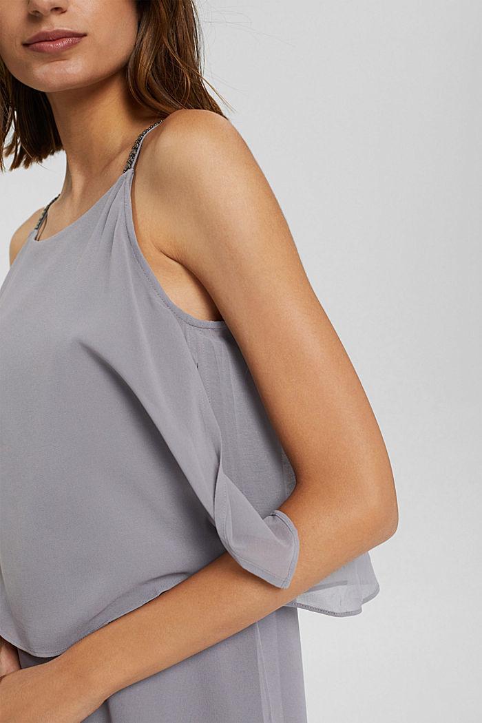Gerecycled: chiffon jurk met laagjeslook, GREY, detail image number 3
